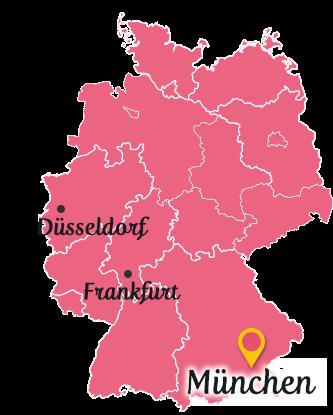 ドイツ地図中のミュンヘン