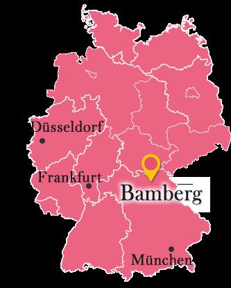 ドイツ地図とバンベルク
