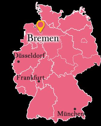 ドイツ地図とブレーメン
