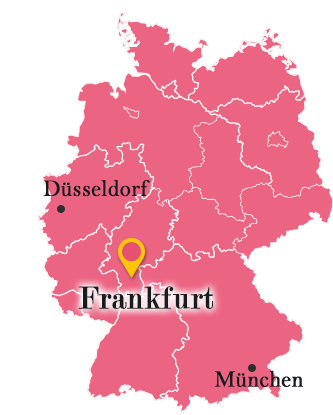 ドイツ地図の中のフランクフルト