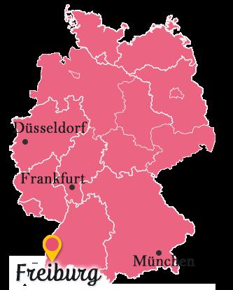 ドイツ地図とフライブルク