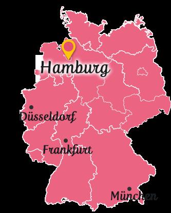 ドイツ地図とハンブルク