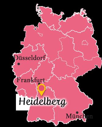 ドイツの地図とハイデルベルク