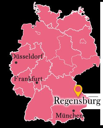 ドイツ地図とレーゲンスブル