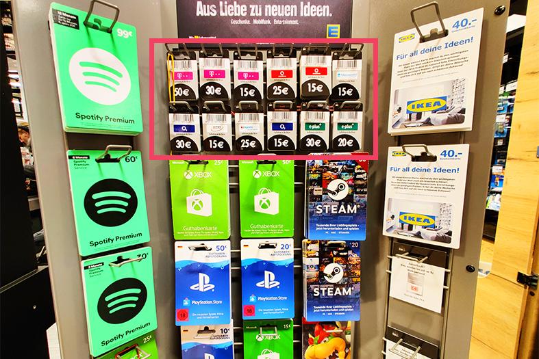 スーパーマーケットのSIMカードチャージ用カード